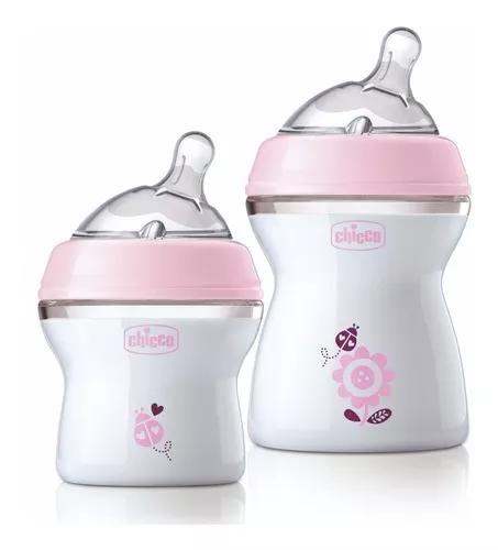 Kit 2 mamadeiras chicco stepup rosa 1 de 150ml e 1 de 250ml