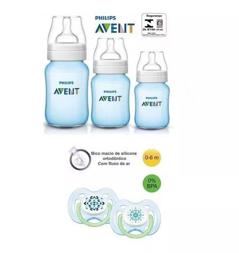 Kit 3 mamadeiras avent classica com chupeta 0 a 6 meses azul