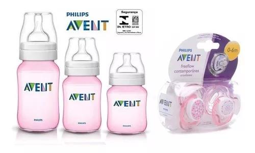 Kit 3 mamadeiras avent classica com chupeta 0 a 6 meses rosa