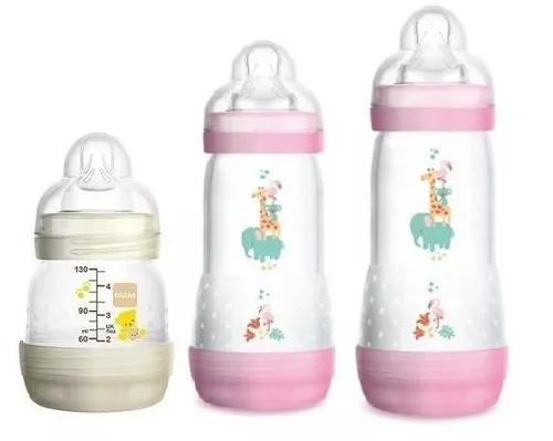 Kit 3 mamadeiras mam first bottle 130 160 260ml menina cores