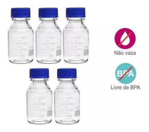 Kit 5 potes vidro armazenar leite materno - graduação