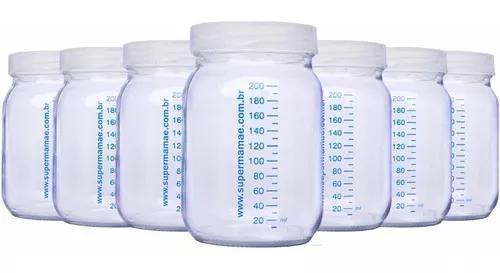Kit 7 potes de vidro ideal leite materno c/ graduação