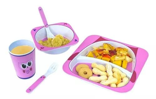 Kit alimentação infantil 5 peças corujinha cherry unik