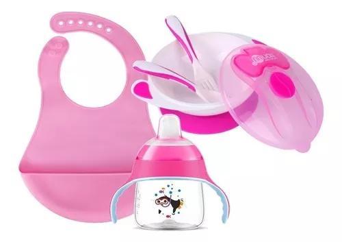 Kit babador copo alças 200ml rosa pratinho ventosa talheres