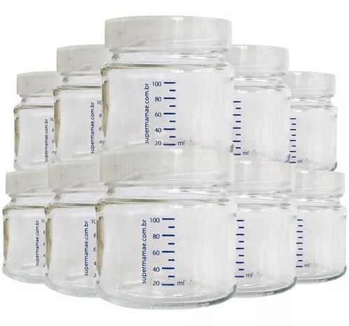 Kit com 10 potes de vidro p leite materno c/ graduação