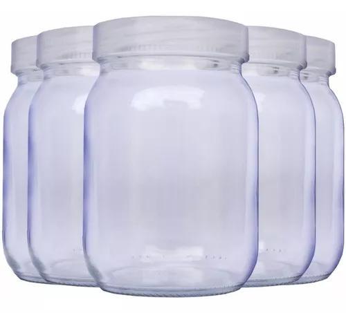 Kit com 5 potes de vidro para armazenar leite materno 200ml