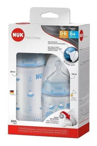 Kit mamadeira first choice nuk azul 300 ml e 150 ml