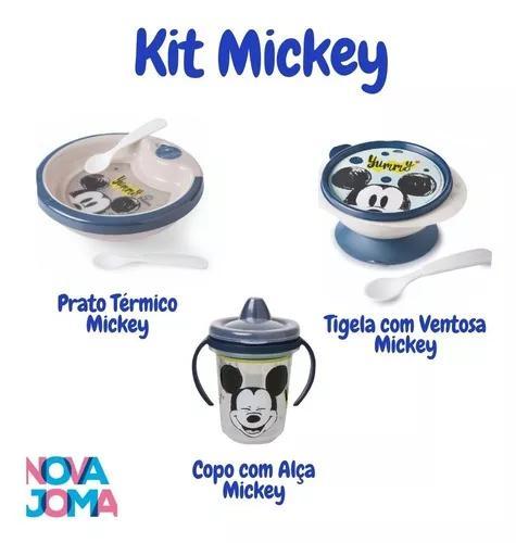 Kit prato térmico,tigela e copo c/ alça do mickey