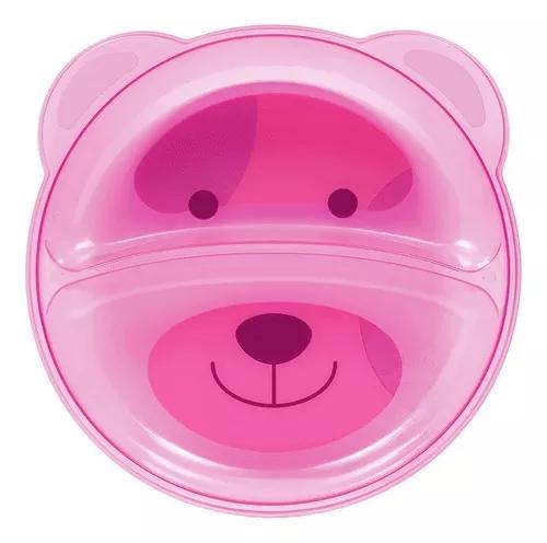 Prato de alimentação infantil bebê com divisórias urso