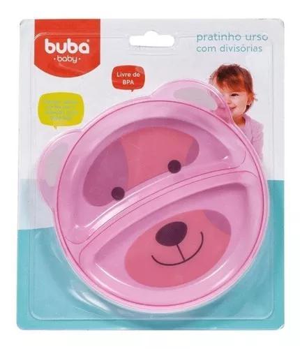Prato de bebe infantil urso com divisória rosa buba 5812
