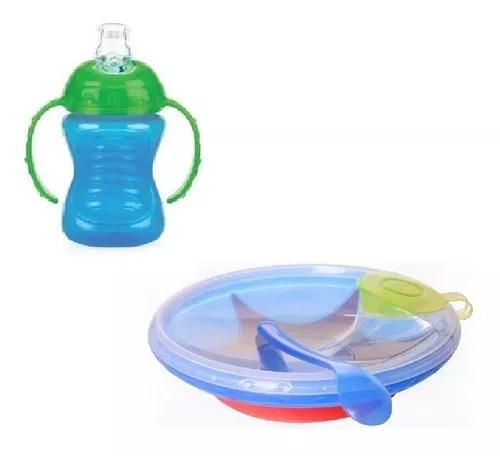 Prato térmico bebê colher kit copo alça transição 4m+