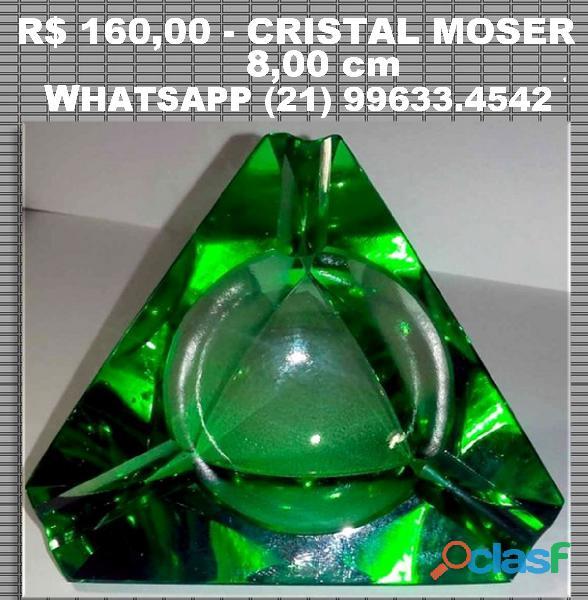 Antigo cinzeiro em cristal moser lapidado 8 cm