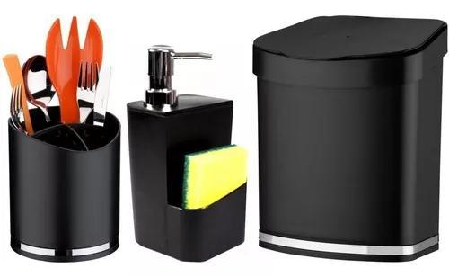 Acessórios sobre pia cozinha lixeira dispenser detergente