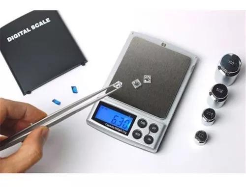 Balança eletronica digital 500g x 0,01g + jogo de pesos