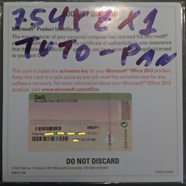 Licença física/certificado de microsoft office 2013