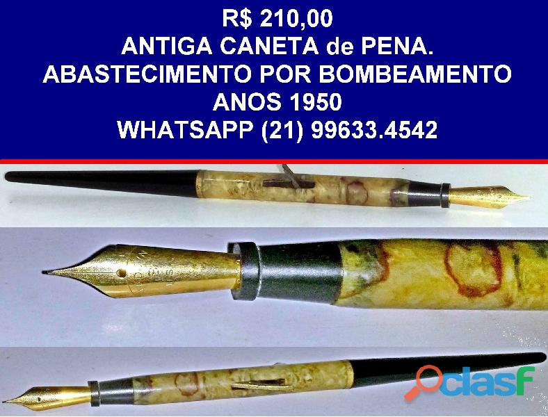 Antiga caneta de pena abastecimento por bombeamento.anos 1950.