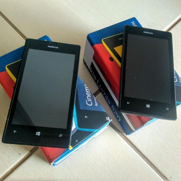 02 celulares nokia lumia 520 nas caixas originais c/ sistema