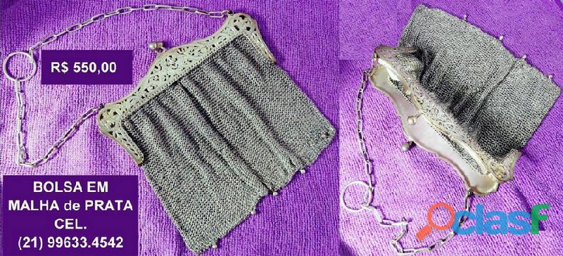 Bolsa antiga.prata em malha.perfeita seminova.