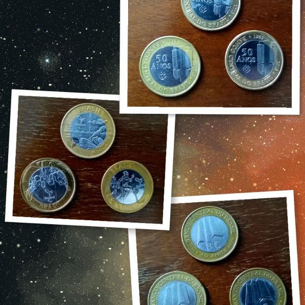 Lote com 9 moedas comemorativas de 1 real