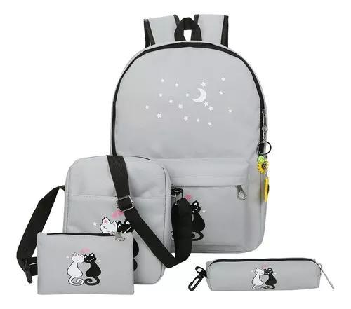 4pcs lovely gato bonito impresso unissex lona mochila escola