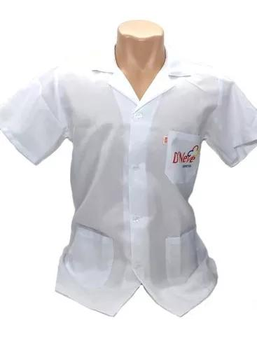 Avental jaleco branco personalizado uniforme para