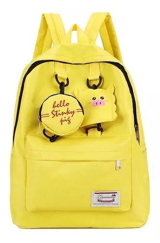 Bonito porco pingente mochilas viag