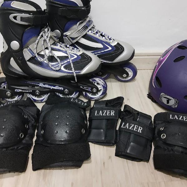 Patins com kit de proteção