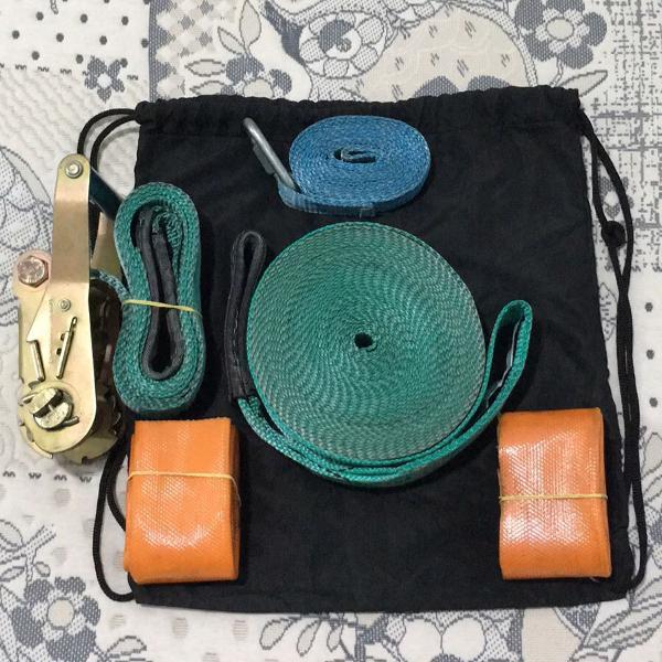 Kit slackline com backup + protetor borracha + bolsa