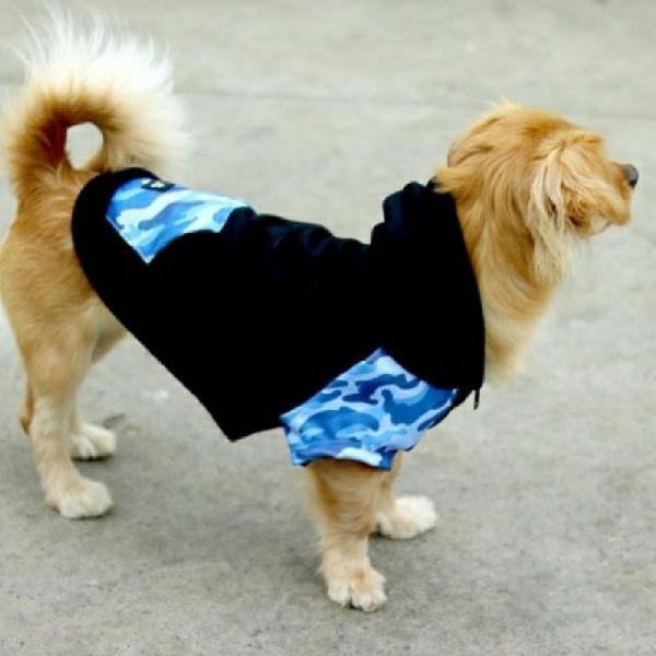 Moletom para cachorro azul e preto clotz usado uma única