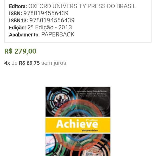 Livro inglês achieve volume único