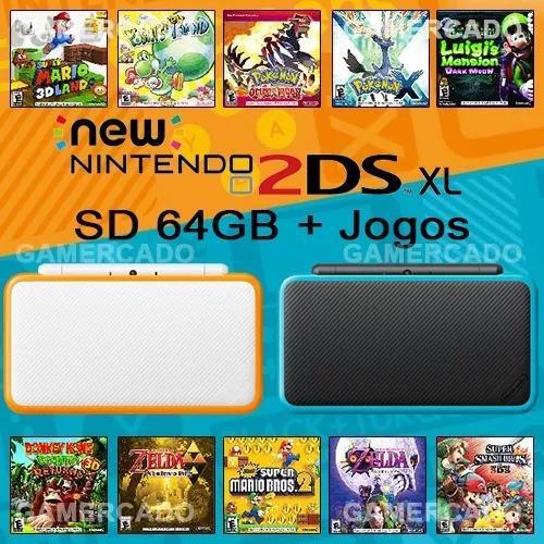 New nintendo 2ds xl + sd 64gb + jogos 3ds + t