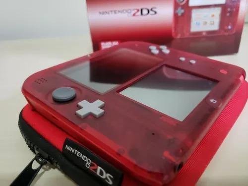 Nintendo 2ds cristal transparente vermelho raro desbloqueado