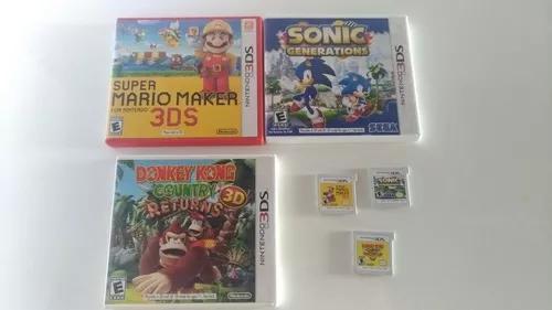 Nintendo 3ds 3 jogos sonic super mario maker e donkey kong