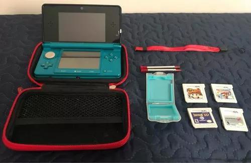 Nintendo 3ds azul + 4 jogos + case