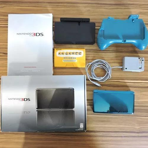 Nintendo 3ds com caixa, carregador, manual suporte + 3 jogos