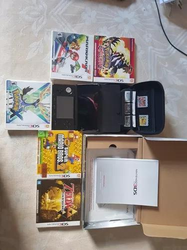 Nintendo 3ds cosmo black + 6 jogos + case