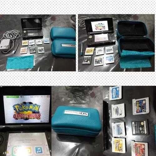 Nintendo 3ds preto, novinho, completo e com 7 jogos