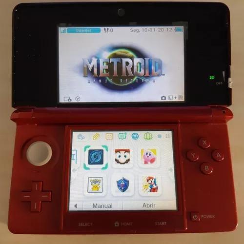 Nintendo 3ds Vermelho Original Destravado Com 8gb