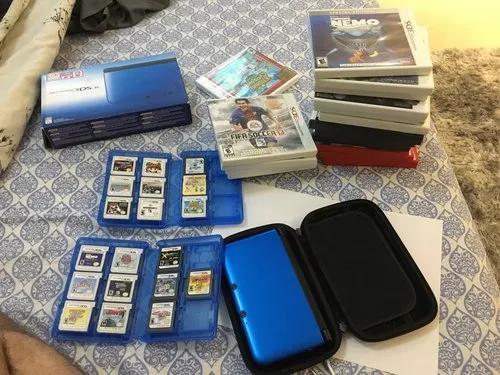 Nintendo 3ds xl + 19 jogos + case proteção + case para
