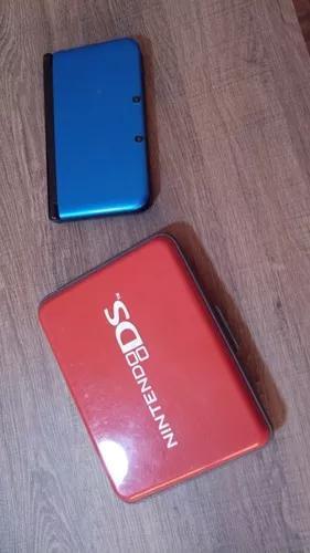 Nintendo 3ds xl azul + 4 jogos + hardcase + carregador