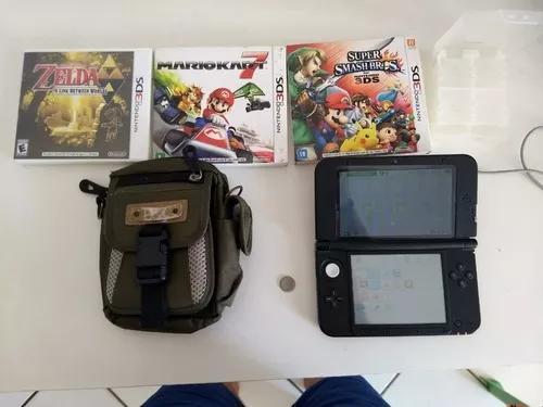 Nintendo 3ds xl com 3 jogos, case, porta-jogos e carregador