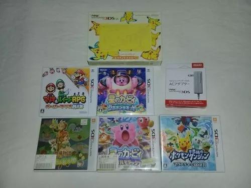 Nintendo 3ds xl pikachu edition completo + 5 jogos originais