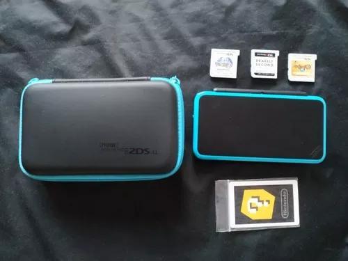 Nintendo new 2ds xl japonês - preto e azul + 4 jogos