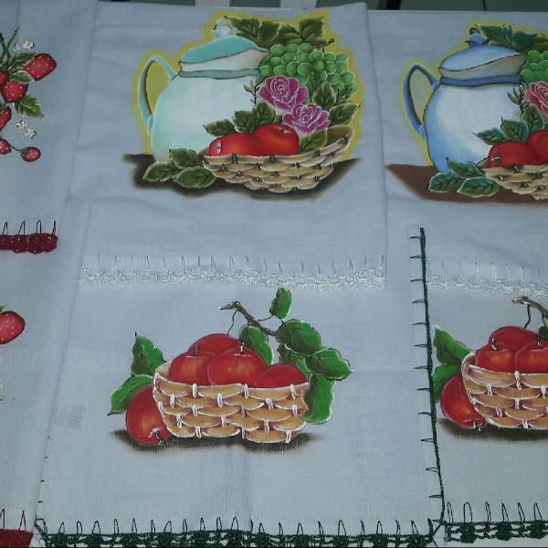 Panos de prato decorativo pintados à mão