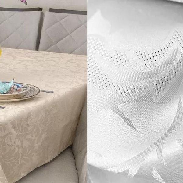 Kit 2 toalhas de mesa jacquard quadrada 1,30x1,30