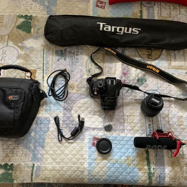 Nikon d3200 + 2 lentes + microfone + case + tripé + cabos +