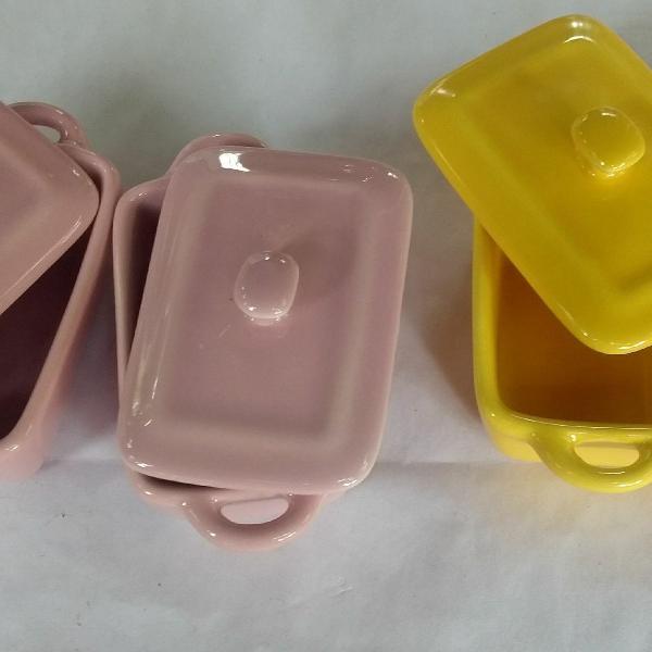 Panelinhas de cerâmica, mini potes de cerâmica, com 4