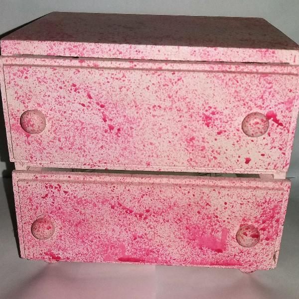Porta treco organizador de madeira rosa