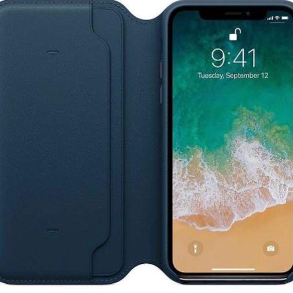 Smart capa case carteira iphone xs max função sleep azul