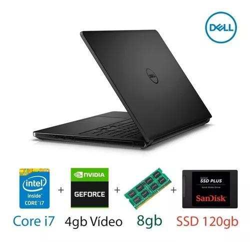 Notebook dell gamer core i7 8gb ram ssd 120gb tela 15,6